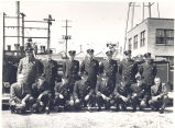 Firemen tour ITT Plant on East Pontiac Street. L-R front: unknown, Cyril Poiry, Steven Hyndman,...
