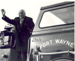 Honorary Fort Wayne Firefighter, Arthur Fiedler on a Fort Wayne Fire Department Pumper. Date...
