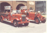 Bicentennial Parade. 1938 International Harvester Pumper and 1927 Ahrens Fox pumper at Fire...