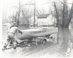 Flood of 1978 in Fort Wayne, IN. Boat from Riverhaven Fire Department. Date 03/21/1978.