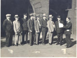Fire Station No. 1, 319 East Main Street. Fire Chief John C. Stahlhut 3rd from left. Arthur Kring...