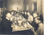 Fire Station No. 3, 226 West Washington Blvd. Arthur Kring standing at end of table. Fred Goeglein...