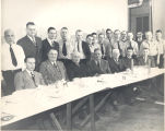 "Dinner at the fire station. L-R seated: unknown, Paul ""Gunnar"" Elliot, unknown, Walter..."