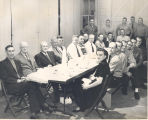 Dinner at Fire Station No. 1, 319 East Main Street. L-R seated back row: Clifford Butler, Frank...