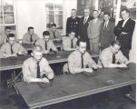 Aptitude testing of firemen. L-R Starting front row: Donald Suelzer, James Arman, Gerald Dial,...