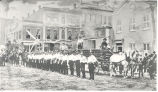 Alert Hook and Ladder Company No. 1 in dress review in the late 1870's. Chief Vogel is on the...