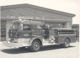 1965 Mack 1250 gpm pumper in front of Fire Station No. 13, 1103 Coliseum Blvd. No date.