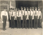 Fort Wayne Fire Chief Fred W. Goeglein with eleven new firemen that were World War II Veterans....