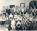 Easter Dinner for families of the firemen at Fire Station No.5. Back L-R: Theodore Grimme, Son of...