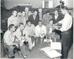 Training new firemen at Fire Station No. 7, 1716 West Main Street. L-R seated: Donald Gerardot,...