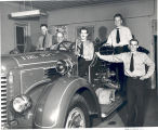 Firemen in the station. L-R: William Reckeweg, Clarence Soest, Arthur Rufner, Edmund Klausing,...