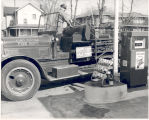 1926 Seagrave Service Ladder Truck on way to St. Louis, MO. Date 03/11/1955