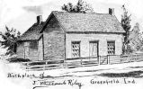 BIRTHPLACE OF JAMES WHITCOMB RILEY, GREENFIELD IN: POSTCARD OF DRAWING WITH INSCRIPTION, FRONT...