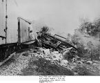 PENNSYLVANIA RAILROAD ACCIDENT, FORT WAYNE IN, 13 AUGUST 1911: PENN FLYER WRECKAGE, VIEW FROM EAST...