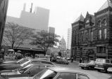 Barr Street Market, Fort Wayne IN: from east with old city hall, L.S. Ayres, courthouse, Fort...