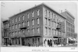 Aveline House Hotel, Fort Wayne IN: angular view showing both street fronts including drug store,...