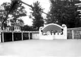 Fairview Hotel, Rochester IN: outdoor dance pavilion and gardens on Lake Manitou, with windmill....