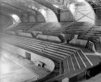 Allen County War Memorial Coliseum, Fort Wayne IN: under construction, interior showing bleachers.