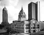 Allen County Courthouse, Fort Wayne IN: with Lincoln Bank building and Fort Wayne National Bank,...