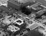 Allen County Jail, Fort Wayne IN: aerial view showing old jail and new corrections center under...