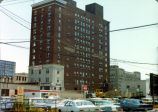 Keenan Hotel, Fort Wayne IN: just before demolition, 18 October 1974. viewed from parking lot at...
