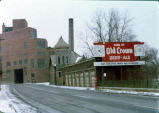 Centlivre Brewing Company, Fort Wayne IN: with sign for Old Crown Beer-Ale on frame garage...