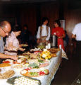 Allen County Public Library: retirement party for Jacqueline Belschner, 1983, showing buffet table...