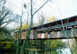 Covered Bridge, Spencerville IN, built 1873, side view. Taken October 1974 by Susan Pallone.