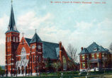 Saint James' Catholic Church and priest's house, Tipton IN: colored postcard. original damaged.