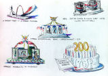 American Bicentennial, Fort Wayne IN: proposals for floats for 4th of July parade, possibly for...