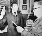 Indianapolis, Dec. 29: Sworn In: Indiana Governor Otis Bowen (r) swears in Richard W. Maroc as...