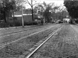 From 1613 Spy Run Avenue, Fort Wayne IN,  looking south, 1948: showing brick paving and trolley...
