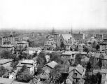 Aerial view of Fort Wayne IN downtown, taken from Saint Paul's Evangelical Lutheran Church,...