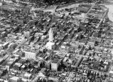 Aerial view of downtown Fort Wayne IN: showing Lincoln Bank building, Scottish Rite, Masonic...