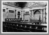 ALLEN COUNTY COURT HOUSE. MURAL, BAS-RELIEFS, MARBLE AND OTHER DECORATIONS IN COURT  ROOM OF ALLEN...