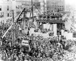 ALLEN COUNTY COURT HOUSE. LAYING THE CORNERSTONE OF THE ALLEN COUNTY COURT HOUSE NOVEMBER 17, 1897...
