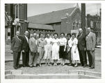 Central District Office Bldg. Workers around 1959 when Foundation was poured for new building. L...