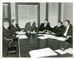 Central District Mission Board 1957. Left to right:  Unknown, Unknown, Wambsganss, Abram, Unknown,...