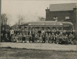 Concordia College Choir, Fort Wayne, Ind. 1940. Bus trip. On right (in hats): Buszin, Follber...