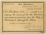 Abraham Lincoln funeral  train transportation pass