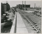 View looking west from Barr St.  Building in back center housed Bursley & Co. and later A. H....