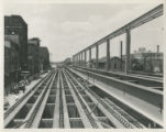 Looking west from Clinton at steelwork.  Note Wayne Paper Box sign in right background.  This...